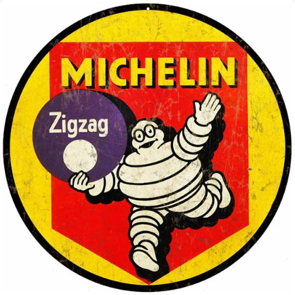 【再入荷】ミシュラン MICHELIN 丸型ブリキ看板 Zigzag ビバンダム ヘビースチールサイン【アメリカ製(made in USA)】