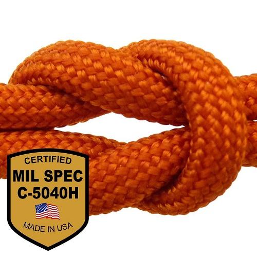 パラコード 550 MIL-SPEC インターナショナルオレンジ 8ストランド 310フィート MIL-C-5040H Made in U.S.A