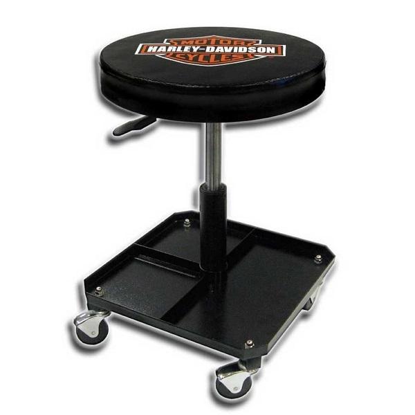 【Harley-Davidson】ハーレーダビッドソン スツール(丸椅子)キャスター付き 高さ調節可能【インテリア・ガレージ・雑貨】