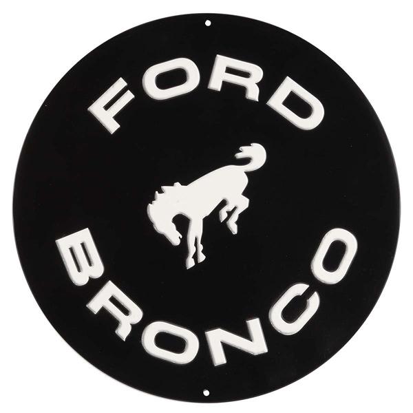 FORDのシックな丸型エンボス看板 フォード ブリキ看板 FORD BRONCO 丸型 エンボスサイン お得 インテリア 壁掛け 車 直径30.5cm 高級品 ブロンコ 輸入雑貨 ガレージ