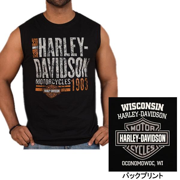 ハーレーらしいワイルドなノースリーブシャツ ハーレーダビッドソン ノースリーブシャツ メンズ 丸首 Mサイズ 特価 ブラック Harley-Davidson 商品 アパレル プリント