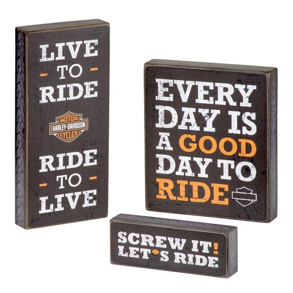 【ハーレーダビッドソン】 【アートパネル】パブサイン 3個セット 【Harley-Davidson インテリア ディスプレイ 木製】 ◇ クリスマス プレゼント ギフト