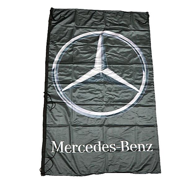 【カー フラッグ】メルセデス ベンツ ロゴ フラッグ ブラック 屋内・屋外用 153cm×92cm 【Mercedes Benz FLAG インテリア 旗 バナー欧州車 】