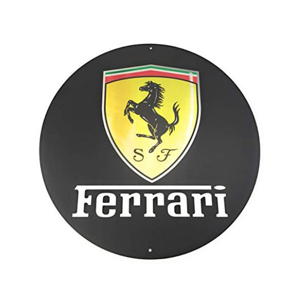 【フェラーリ】【ブリキ看板】クラシック エンブレム 丸型 看板 直径35.5cm【Ferrari ブラック イエロー 雑貨 インテリア 壁掛け ガレージ 車】