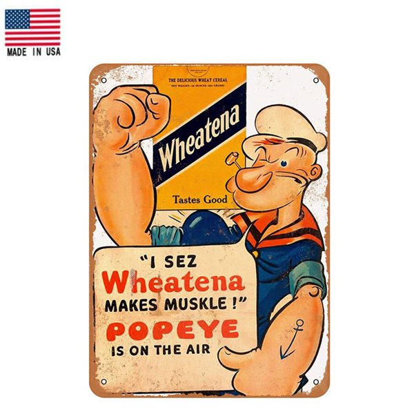 【ブリキ看板】【ポパイ】Popeye Wheatena ビンテージ調 看板 30.5cm×23cm【雑貨 インテリア 壁掛け ガレージ レトロ 広告 ホワイト オレンジ ブルー】
