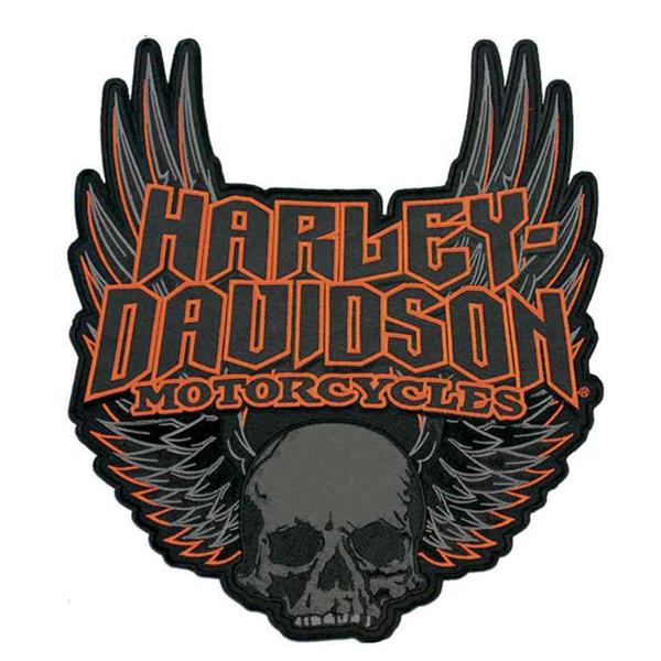 【ハーレーダビッドソン】【ワッペン】ゴシック ウイング スカル エンブレム パッチ 29cm×26cm【Harley-Davidson 雑貨 小物 バイク】
