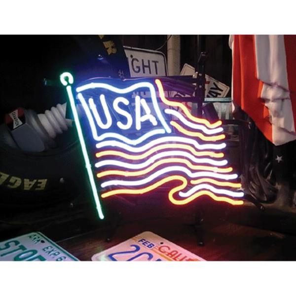 【ライト】USA フラッグ ネオンサイン スタンド 吊下げチェーン付き【インテリア 照明 星条旗 アメリカ ディスプレイ】