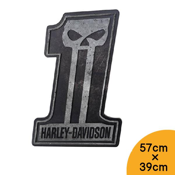 【ハーレーダビッドソン】【看板】スカル #1 大型 バー サイン 57cm×39cm【Harley-Davidson 雑貨 インテリア 壁掛け ガレージ バイク ドクロ 髑髏 ブラック シルバー 3D】