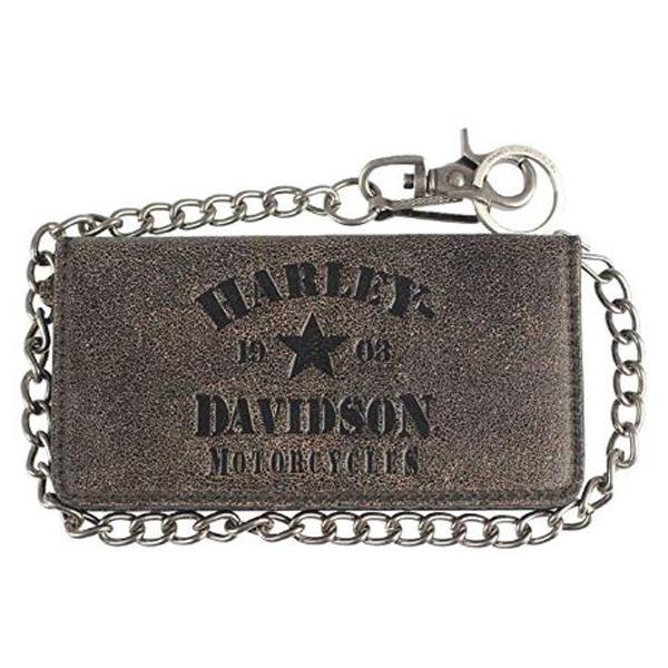 【ハーレーダビッドソン】【ウォレット 財布】本革製 メンズ 二つ折り レザー ウォレット タンブラック【Harley-Davidson 雑貨 長財布 バイカー バイク】