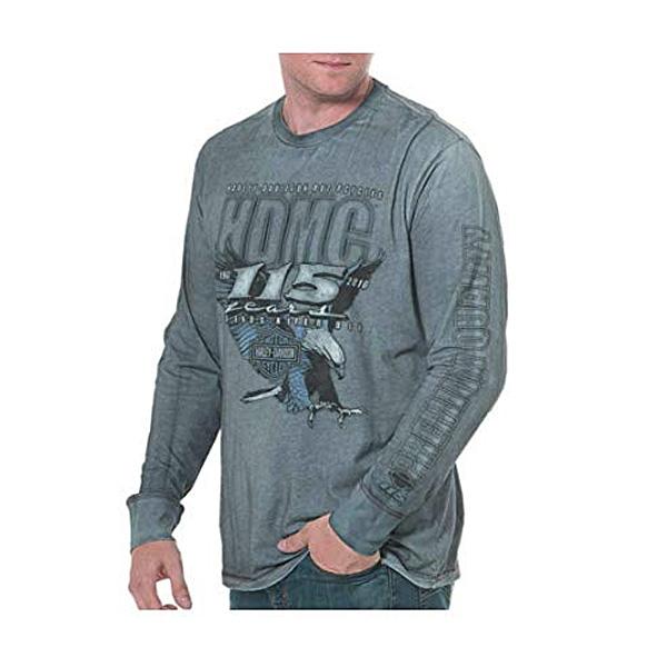 【ハーレーダビッドソン】【長袖 Tシャツ】115周年 記念ロゴ入りTシャツ Mサイズ ブルーウォッシュ【HARLEY-DAVIDSON ロンT ロングスリーブ アパレル】