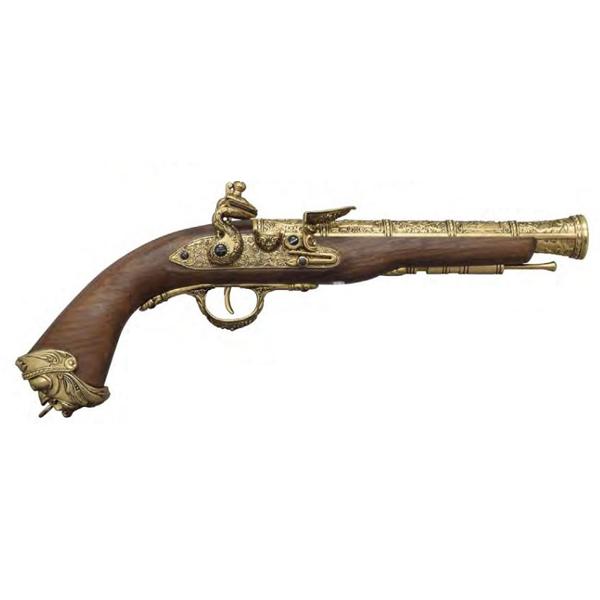 HFC ガスガン フリントロック ピストル フェイクウッド Ver ゴールド ■ FLINT LOCK ミリタリー 銃 ガン
