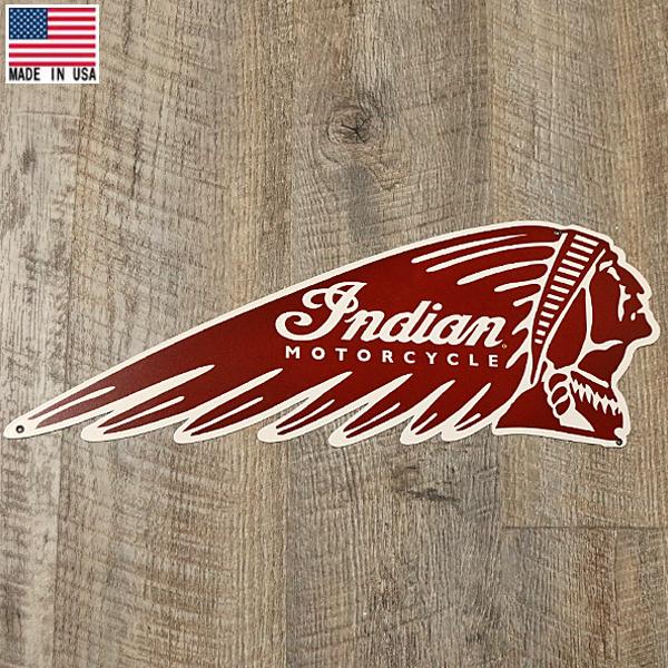メタルサイン インディアン モーターサイクル ロゴ インディアンヘッド レッド 23cm×62.5cm Made in USA ■ Indian Motorcycle バイク バイカー インテリア 雑貨 ガレージ 壁掛け