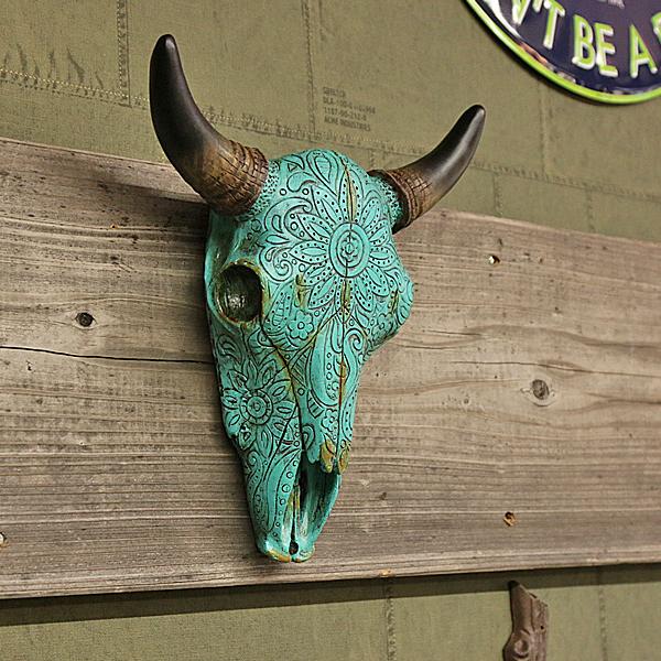 【あすつく】 壁掛けオブジェ ターコイズ フラワー スカルヘッド ? 水牛 ウシ インテリア 雑貨 ディスプレイ, セグレート dc9c98da