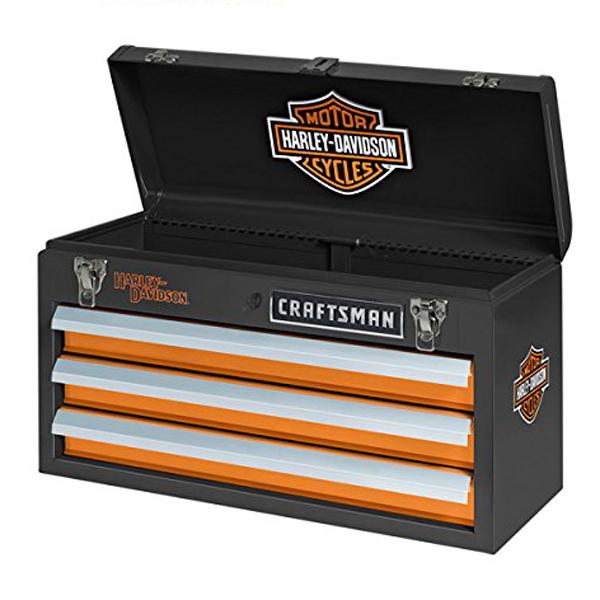 【Harley-Davidson×CRAFTSMAN】ハーレーダビッドソン×クラフトマン 工具入れ 3段ポータブル ツールボックス(ツールチェスト)【インテリア・雑貨】