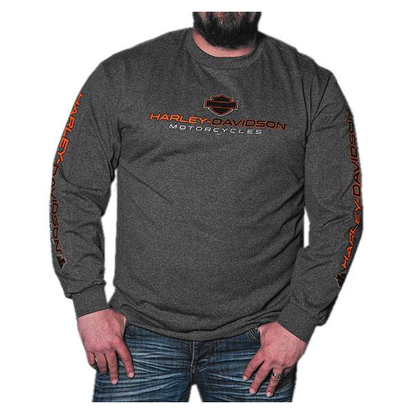 """Sサイズ【Harley-Davidson】ハーレーダビッドソン メンズ 長袖シャツ """"リーグ"""" US S、Mサイズ チャコール・ヘザー 【アパレル プリント】"""