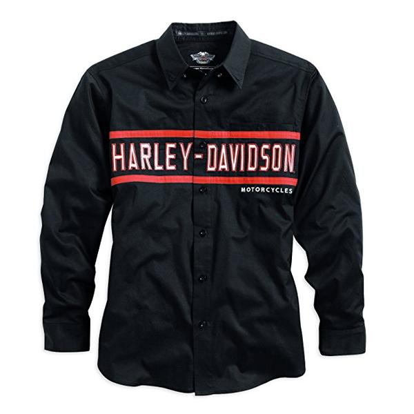 【送料無料】【Harley-Davidson】 ハーレーダビッドソン メンズ クラシックチェストストライプ 長袖シャツ Mサイズ ブラック/レッド