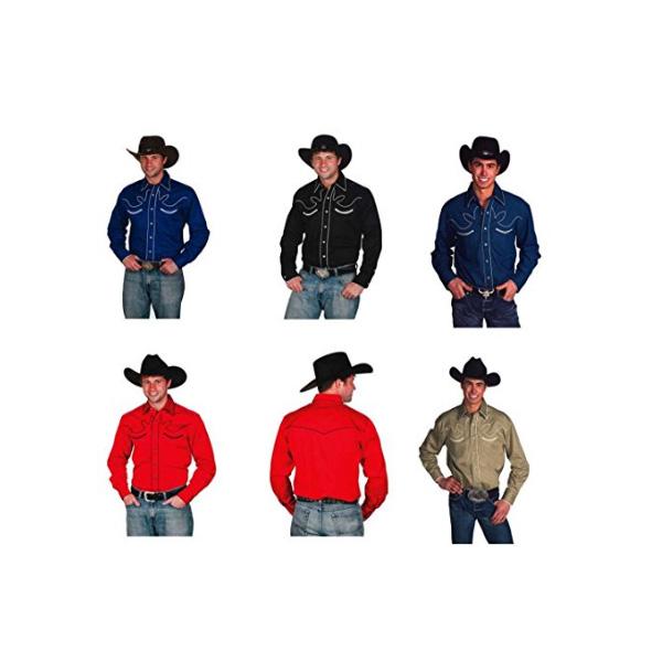 【送料無料】カウボーイウエスタンシャツ US Mサイズ ブラック、カーキ、レッド、デニム 【メンズ シャツ 長袖 ボタン コットン ファッション 西部劇】