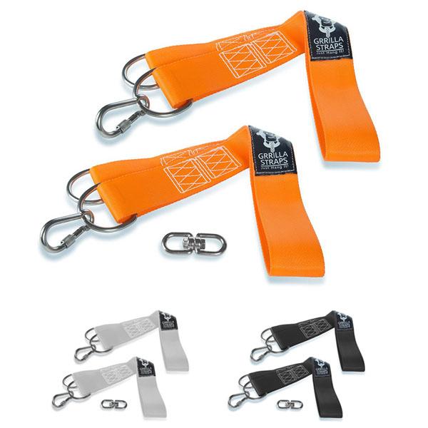 【再入荷】ハンモック・ブランコの吊下長が自由自在に設定できる スイングストラップ2本組 オレンジ、ブラック、グレー【アウトドア】