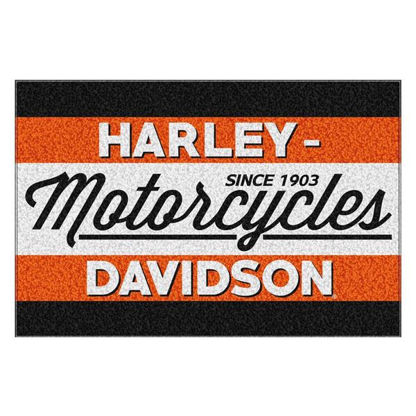 【Harley-Davidson】ハーレーダビッドソン ブラック&オレンジ ラグ 99cm×150cm【送料無料】【インテリア 敷物 motercycles】
