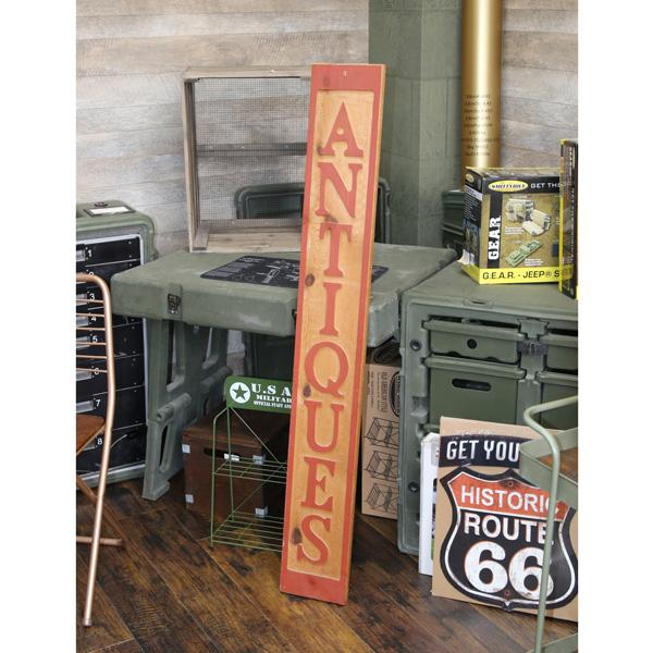 【送料無料】(アメリカ直輸入)【ビンテージ】木製看板「ANTIQUES(アンティーク)」 長方形【インテリア 壁掛け ウッド看板】