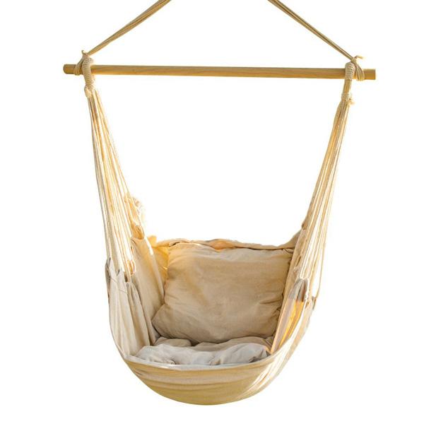 【CCTRO】ハンモックチェア ナチュラルホワイト【アウトドア 屋外 屋内 ハンギングロープ】