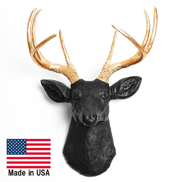 鹿 ウォールハンギング 高級オブジェ(レプリカ)【インテリア 壁掛け シカ ブラック ゴールド 動物 メイド・イン・USA】【181SS10】