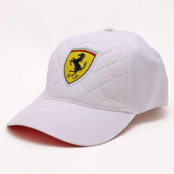 """【再入荷】【Ferrari (フェラーリ)】スクーデリアフェラーリ  ホワイトキルトステッチ キャップ """"フォーミュラー1"""" ホワイト(帽子 アジャスタブル ベースボールキャップ ロゴ イタリア)"""