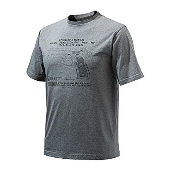 【ベレッタ】【Tシャツ】アニバーサリー ピストル メンズ 半袖 Tシャツ グレー Sサイズ【BERETTA】