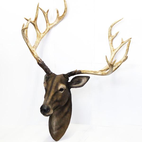 【壁掛けオブジェ】牡鹿のヘッド壁掛けオブジェ 【インテリア 雑貨 飾り 置物 鹿】