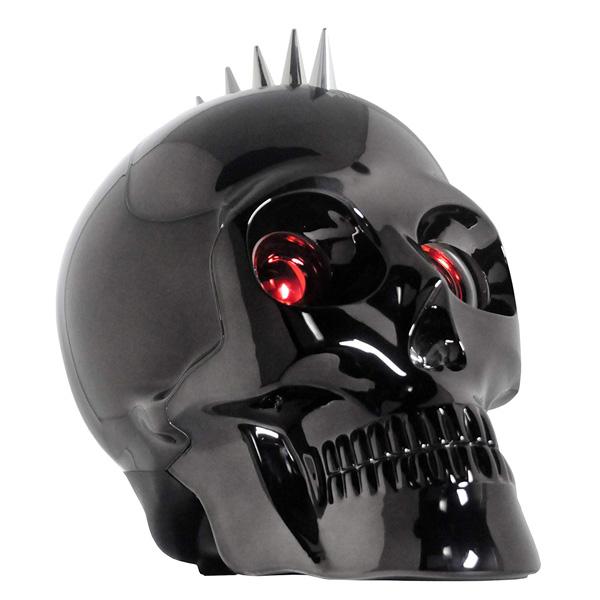 トゲ パンク】 Bluetooth LEDライト付き 【ハロウィン】スカル型 ブラック【ガイコツ スピーカー ドクロ