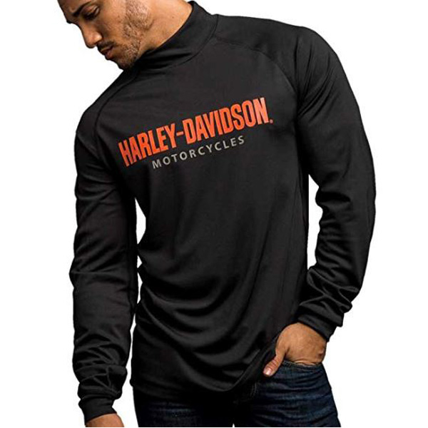 【ハーレーダビッドソン】 モック ネック シャツ メンズ Mサイズ ブラック【Harley-Davidson アパレル プリント バイク バイカー】