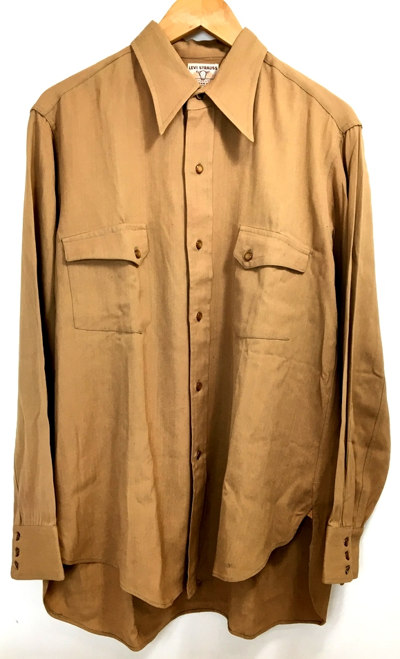 【中古】【メンズ】Levis レーヨン混シャツ リーバイス カジュアルシャツ 長袖 ヴィンテージ 50's頃 ショートホーンタグ付き 初期 カラー:ブラウン 茶 サイズ:L~XL程度