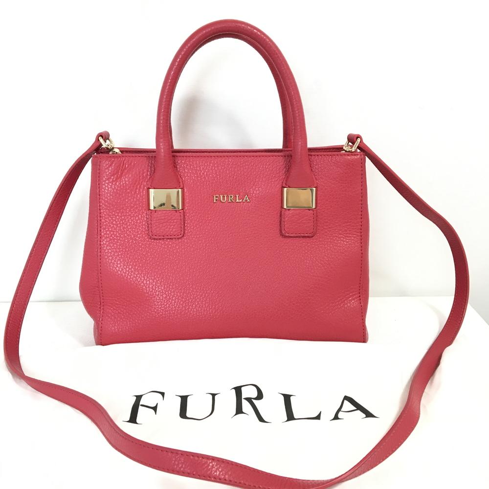 【保護袋付き】【中古】【レディース】FURLA フルラ 2WAYハンドBAG ショルダーバッグ 鞄 カバン カラー:ショッキングピンク