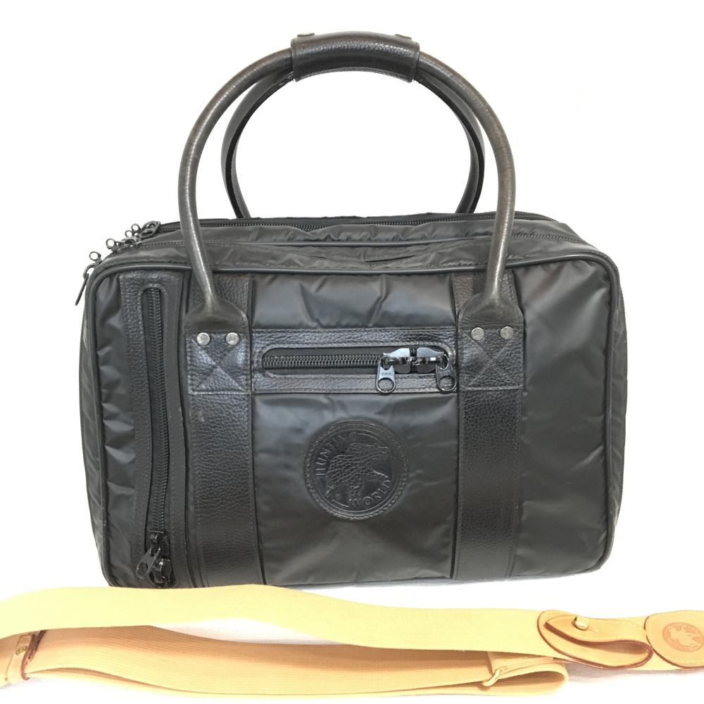 【送料無料】【中古】【メンズ】HUNTING WORLD ハンティングワールド 2WAYブリーフケース ハンドバッグ ショルダーBAG 鞄 かばん ビジネス 通勤 出張 カラー:BLACK ブラック 黒