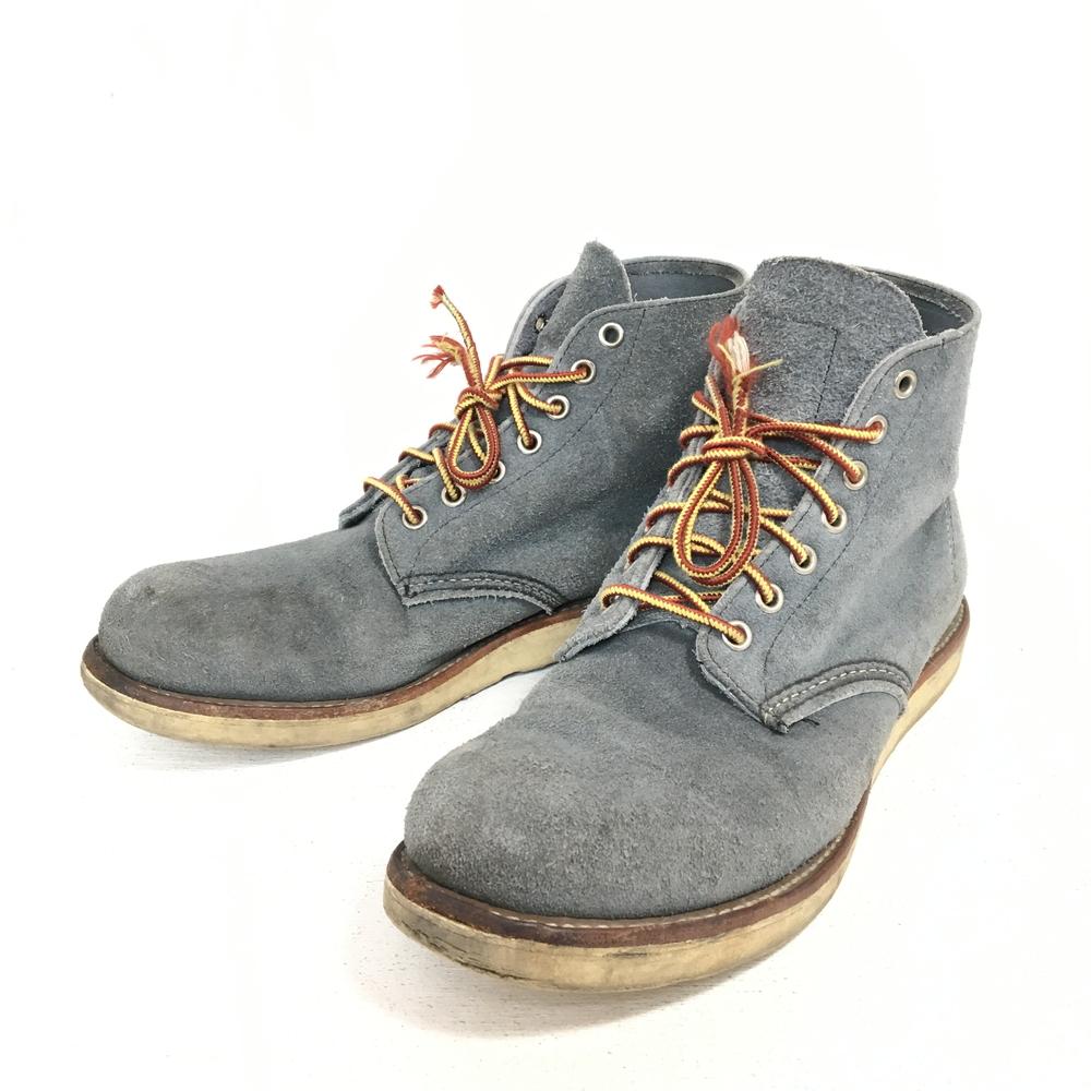 【送料無料】【中古】【メンズ】REDWING ROUND TOE BOOTS ABILENE ROUGHOUT SLATE BLUE レッドウィング ラウンドトゥブーツ スレートブルーアビレーンラフアウト スウェード 靴 ワーク カラー:ブルー 青 サイズ:9D(27.0cm)