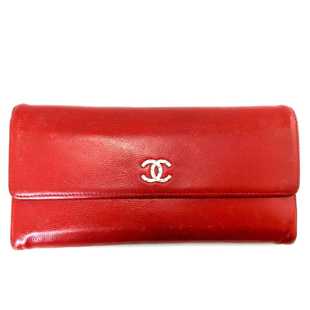 【中古】【レディース】CHANEL シャネル キャビアスキン 長財布 ロングウォレット ココマーク フランス製 カラー:RED レッド 赤