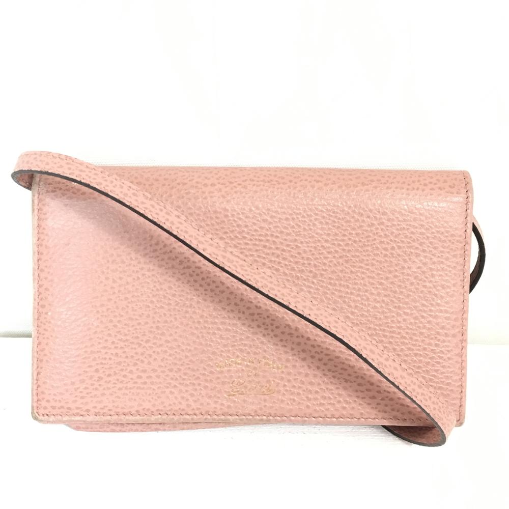 【中古】【レディース】GUCCI グッチ スウィング ショルダーウォレット 368231 レザー財布 ポシェット カラー:ピンク