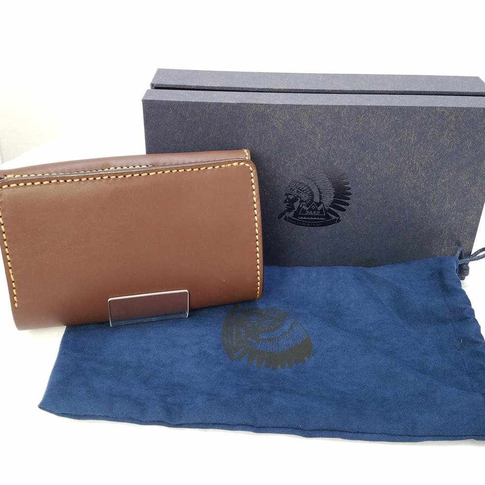 【中古】【メンズ】SAAD サード レザーミドルウォレット 二つ折り革財布 カラー:ブラウン 茶 ダークブラウン 万代Net店