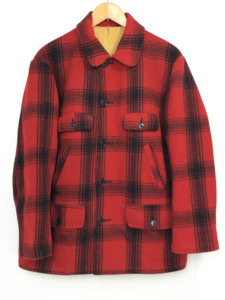 【中古】【メンズ】FOX KNAPP フォックスナップ リバーシブルウールジャケット サイズ:L程度 カラー:レッド系 チェック柄 イエロー 万代Net店