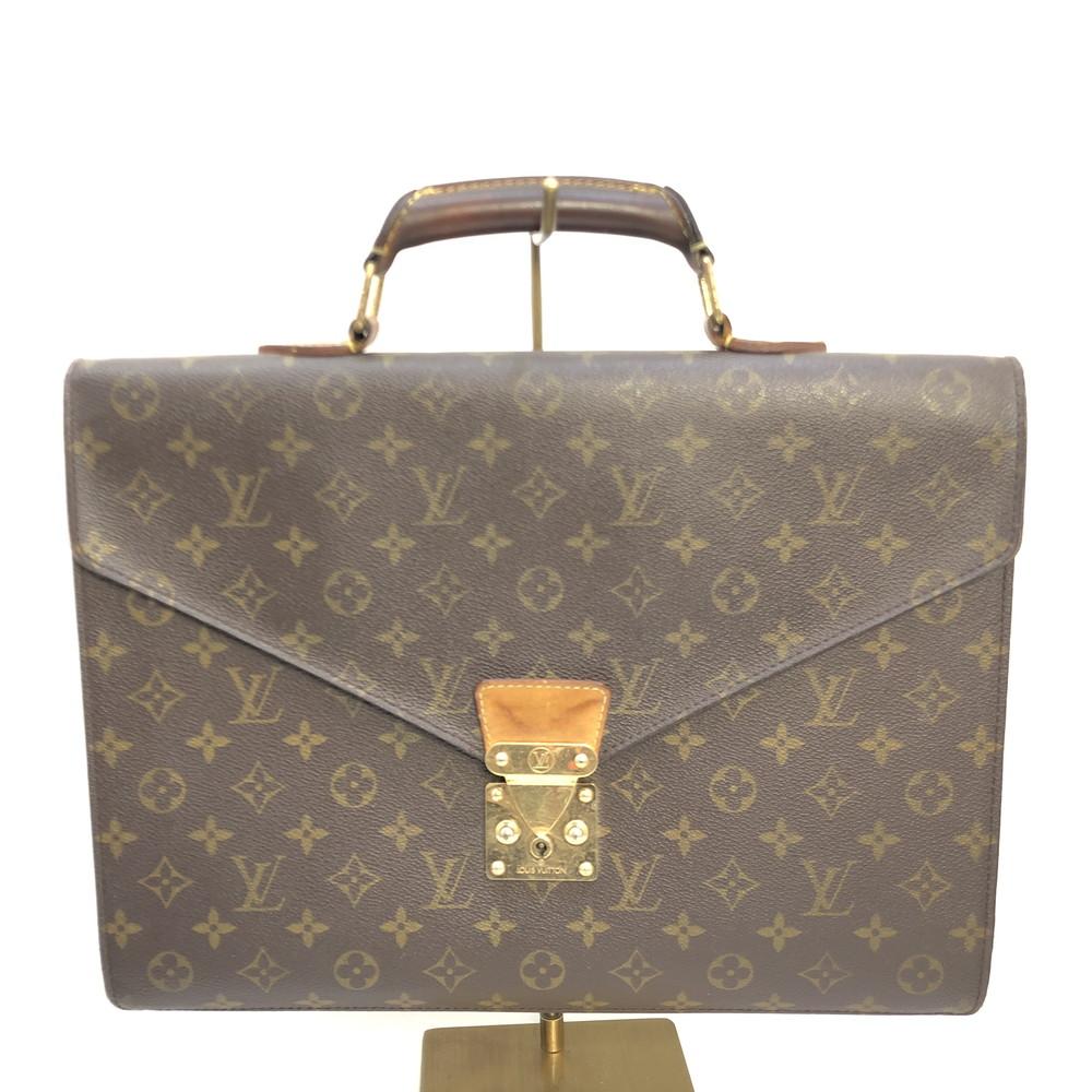 【中古】【メンズ】LOUIS VUITTON ルイヴィトン モノグラム セルヴィエット・コンセイエ M53331 MI0917 ビジネスバック 書類かばん 鞄 カバン カラー:ブラウン 茶 万代Net店