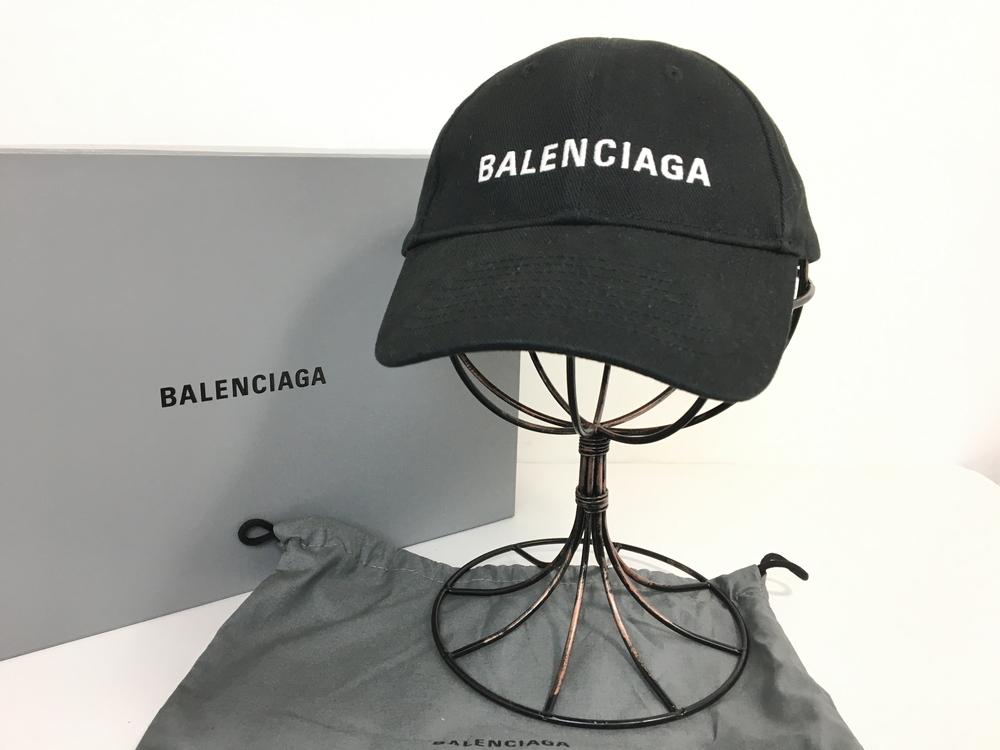 【中古】【メンズ】【レディース】BALENCIAGA バレンシアガ 17SS LOGO BASEBALLCAPベースボールキャップ ローキャップ 帽子 カラー:BLACK ブラック 黒 サイズ:L(58cm) 万代Net店