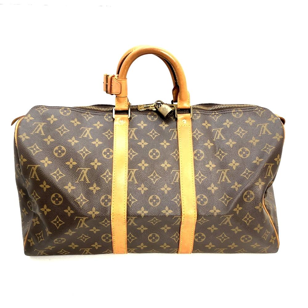 【中古】【メンズ】LOUISVUITTON ルイヴィトン モノグラム キーポル45 ボストンバック M41428 VI874 旅行バッグ  鞄 カバン カラー:ブラウン 茶 万代Net店