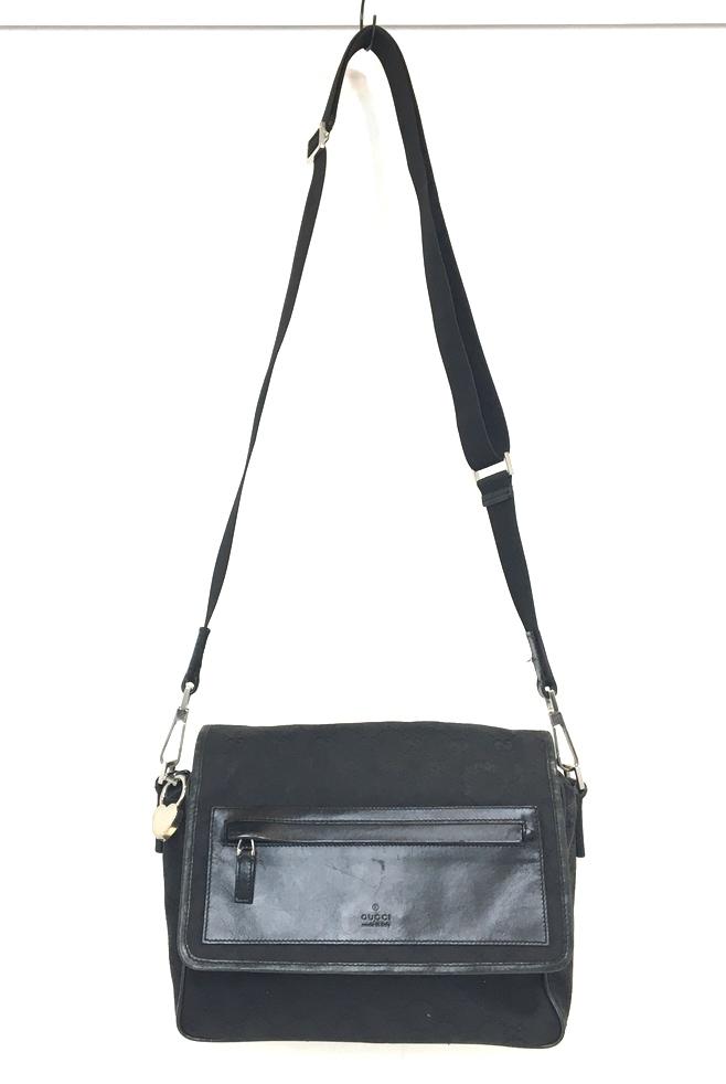 【中古】【メンズ】【レディース】GUCCI グッチ GGキャンバス ショルダーバッグ BAG 28562 かばん 鞄 カラー:BLACK ブラック 黒 万代Net店