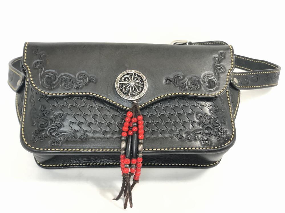 【中古】【メンズ】SAAD サード カービングレザー ウエストバッグ 鞄 バック カラー:ブラック 万代Net店