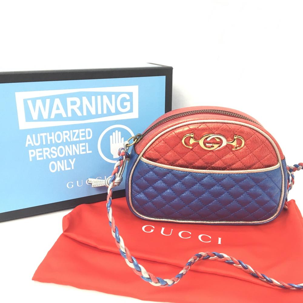 【中古】【付属品あり】【レディース】GUCCI グッチ ダブルG ホースビット ラミネートキルティング メタリック 539951 ミニショルダーBAG バッグ かばん 鞄 カラー:RED レッド 赤 BLUE ブルー 青 万代Net店