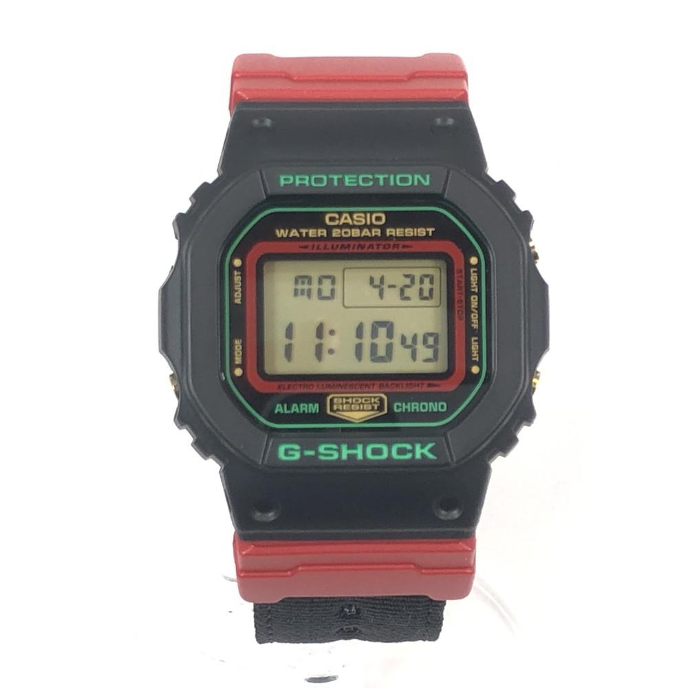 【中古】【メンズ・レディース】【付属品有り】CASIO G-SHOCK DW-5600THC カシオ ジーショック ウィンタープレミアム スペシャル復刻モデル Throwback 1990s 時計 デジタル メンズ 腕時計 カラー:レッド/ブラック/グリーン 赤/黒/緑 万代Net店