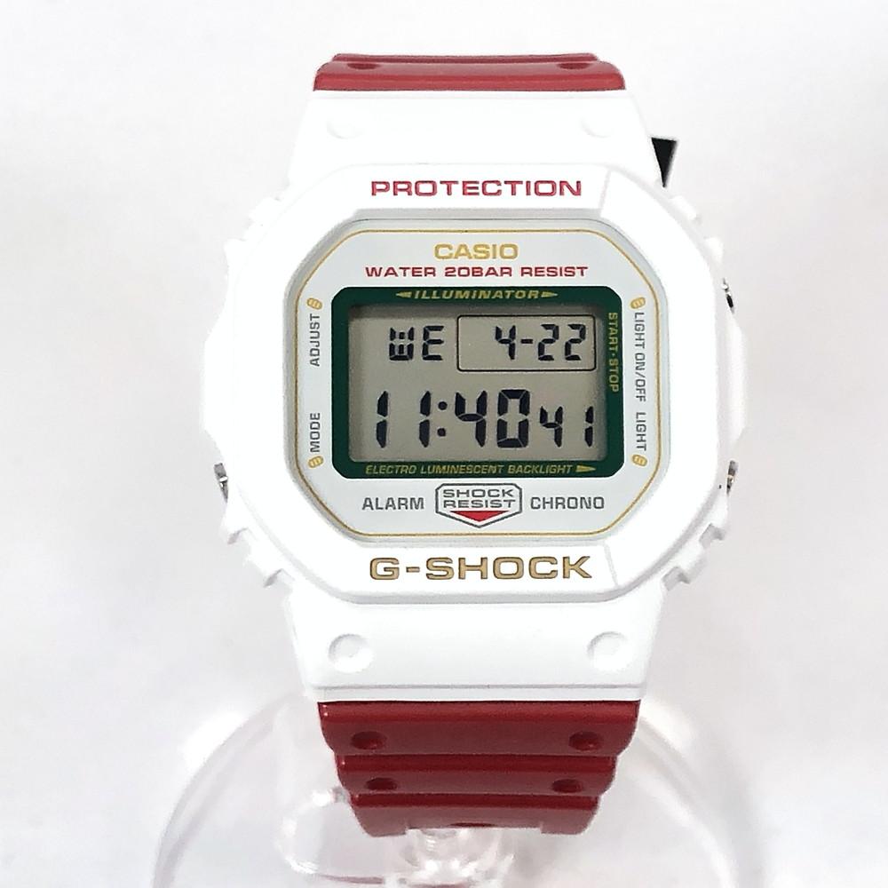 【中古】【未使用品】【メンズ・レディース】【付属品有り】CASIO カシオ G-SHOCK ジーショック MANEKINEKO マネキネコ DW-5600TMN-7JR メンズ 腕時計 ホワイト/レッド 白/赤 万代Net店