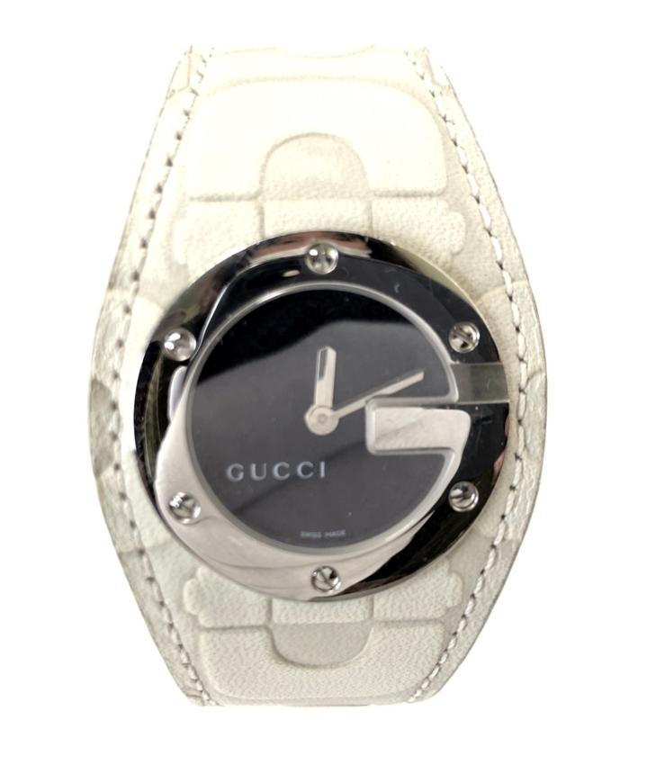 【中古】【付属品】【レディース】GUCCI YA104521 Gバンデュー グッチ 革バンド ウォッチ 腕時計 カラー:ホワイト 白 万代Net店