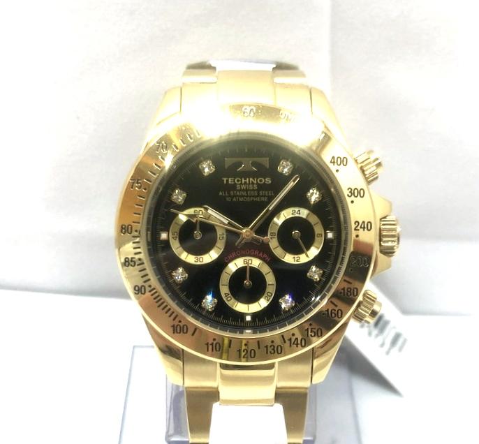 【中古】【メンズ】【付属品あり】TECHNOS テクノス クロノグラフ 腕時計 watch 型番: TGM639GB カラー:ゴールド 万代Net店