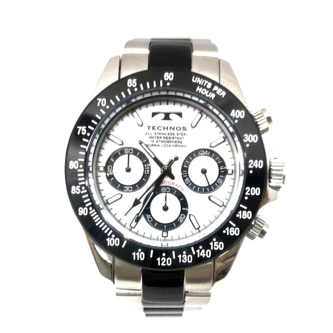 【中古】【メンズ】【付属品あり】TECHNOS テクノス クロノグラフ 腕時計 watch 型番: T4685TW カラー:シルバー 万代Net店